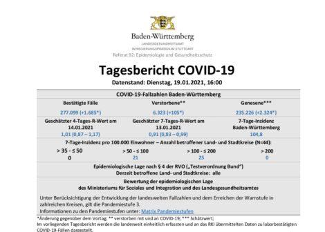 COVID-19 Tagesbericht  (19.01.2021) des Landesgesundheitsamts Baden-Württemberg – (ausführlich)